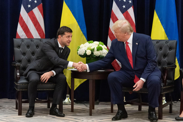 USA President Donald Trump shakes hands with President of Ukraine Volodymyr Zelensky