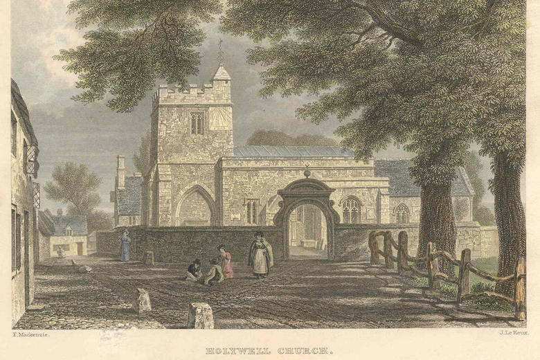 Lithograph of St Cross Church 1835 J Le Keux