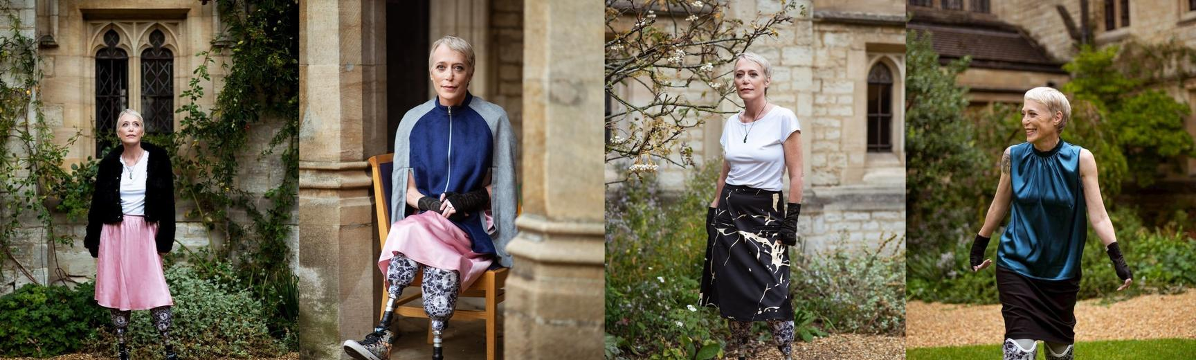 A collage of four photos of Liz, showing her in the College quad showcasing various skirts and blouses.