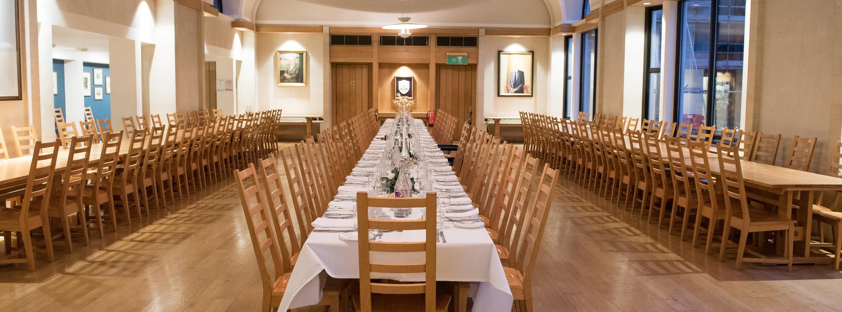 Hall laid for a special dinner