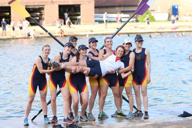 the Wolfson College Boat Club celebrates winning Head of the River