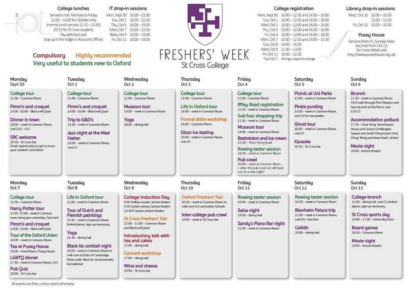 freshers 2019 schedule