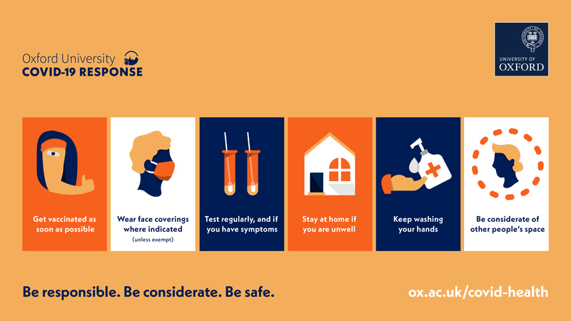 'Be responsible. Be considerate. Be safe: Get vaccinated as soon as possible, wear face coverings where indicated unless exempt, test regularly and if you have symptoms, stay at home if you are unwell, keep washing your hands, and be considerate of space.